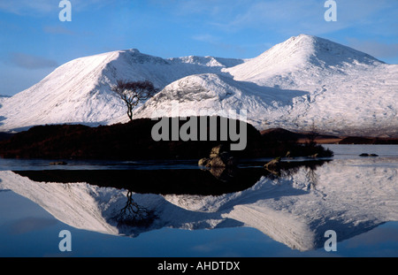 Lochan na h Achlaise, Meall a Bhuiridh and the Black Mount covered in snow, Rannoch Moor, Lochaber, Highland, Scotland - Stock Image