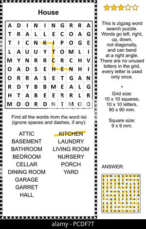 House themed zigzag word search puzzle (suitable both for kids and adults). Answer included. - Stock Image