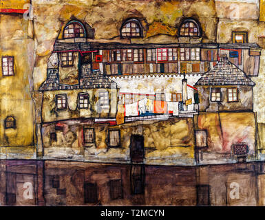 Egon Schiele, House Wall on the River, painting, 1915 - Stock Image