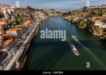 Porto, Portugal, August 16, 2017: View of Porto and the Douro River from the Dom Luis I Bridge - Stock Image