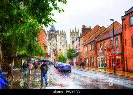 York City UK, York Minster UK, York Yorkshire UK, York road, York roads, York Minster, York raining, York street, York Streets, York Tourism, York UK - Stock Image