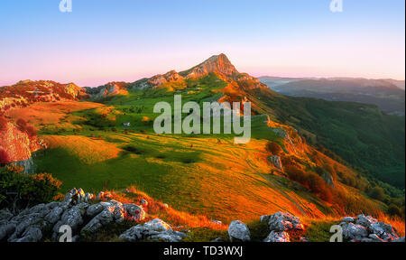 Beautiful sunrise in Gorbea with view of Arraba fields - Stock Image
