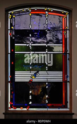 'Lent', North aisle window by Brian Clarke. Christ Church, Thornton-le-Fylde, Lancashire, England, United Kingdom, Europe. - Stock Image