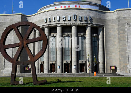 Voksbuehne Theater at the Rosa Luxemburg Square in bright sun light, Berlin, Germany - Stock Image