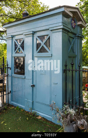 A former Police Box on Princes Street, near West Princes Street Gardens, Edinburgh, Scotland, UK. - Stock Image