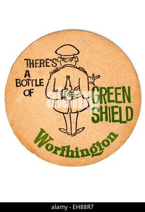 Vintage Beermat Advertising Worthington Green Shield - Stock Image