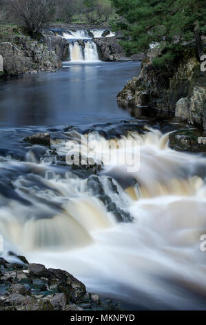 A long exposure image of Low Force Waterfalls in Teesdale, North Pennines AONB - Stock Image