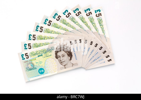 Fifty pounds in five pound notes - Stock Image
