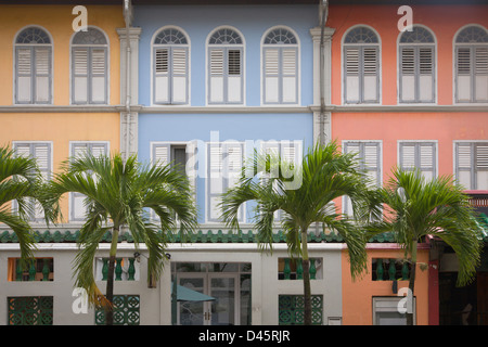 Colorful shophouses along Neil Road in Chinatown, Singapore - Stock Image