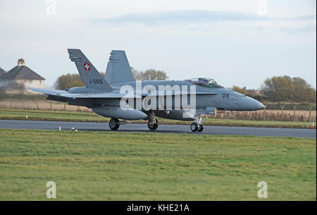 10 Swiss Boeing F/A 18C Hornet on deployment to RAF lLossiemouth in Morayshire, Scotland for 4 weeks day & Night - Stock Image