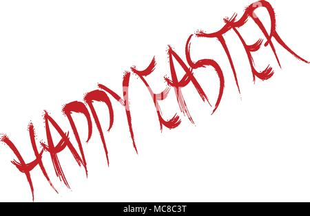 Happy Easter text sign illustration on white background - Stock Image