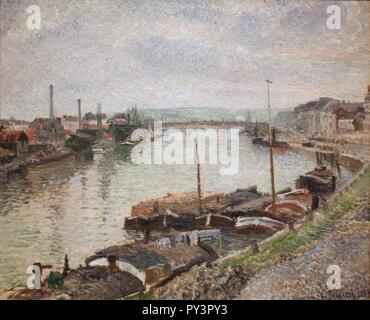 Camille Pissarro - The Stone Bridge and Barges at Rouen (1883). - Stock Image