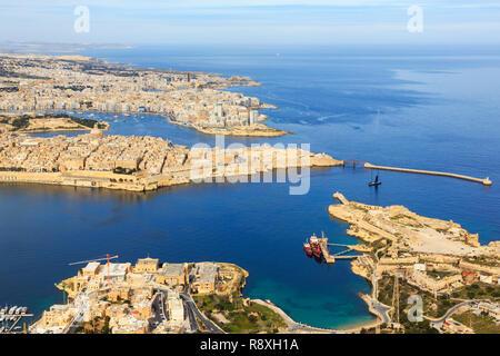 aerial view of Valletta, Malta - Stock Image