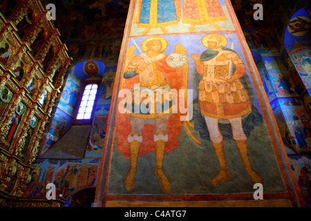 Russia, Golden Ring, Goritsy; Icons and murals in one of the Ipatiev Monastery Churches - Stock Image