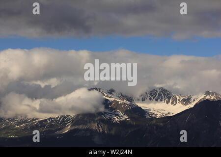 Mount Aroser Rothorn in early summer. - Stock Image