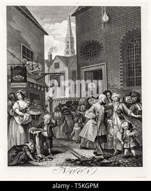 William Hogarth, The Four Times of Day: Noon, engraving, 1738 - Stock Image