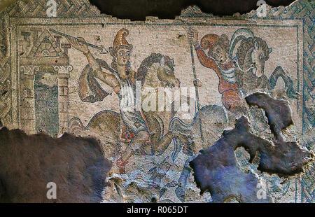 6363. Sepphoris mosaic, late Roman depicting a hunting scene. - Stock Image