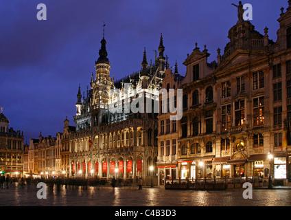 La Grande Place in Brussels at Dusk, Belgium - Stock Image