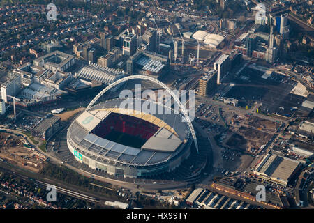 Aerial view of Wembley football stadium, London, England - Stock Image