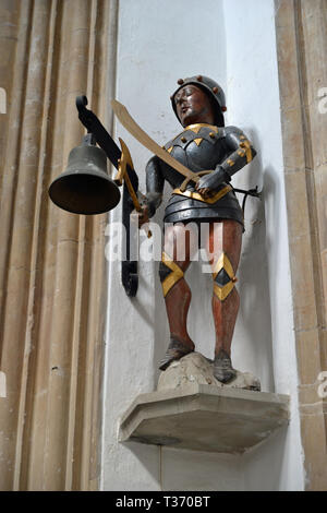 Southwold Jack Bell inside St Edmunds Church, Southwold, Suffolk, UK - Stock Image