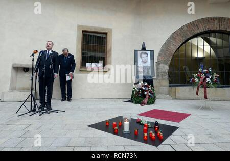 Plaque commemorating late student Jan Palach was unveiled in Prague, Czech Republic, Wednesday, Jan. 16, 2019, in Charles University premises where coffin with his remains stood 50 years ago. Palach, a student of the Charles University's Faculty of Arts, set himself on fire in Prague on January 16, 1969 in protest against people's growing lethargy following the August 21, 1968 Soviet-led invasion of Czechoslovakia. He died of fatal burns three days later, aged 20. On the photo are seen L-R Rector of the university Tomas Zima and Vice-Rector Jan Royt. (CTK Photo/Katerina Sulova) - Stock Image