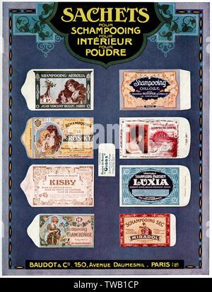 Baudot's shampoo sachets  . 1922 - Stock Image