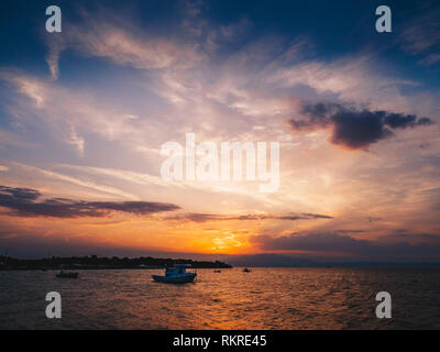Sunset in Thasos in the summer - Stock Image