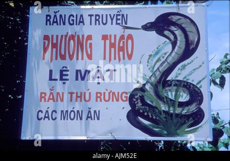 Sign of snake restaurant Vietnam - Stock Image