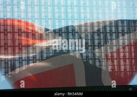 Norwegian flag seen through glass with reflection - Stock Image
