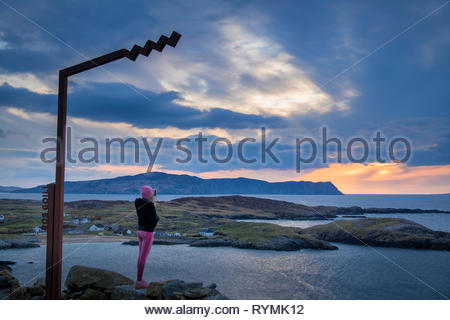 Sunset over Horne Head From Doey, Rosguill, Donegal - Stock Image