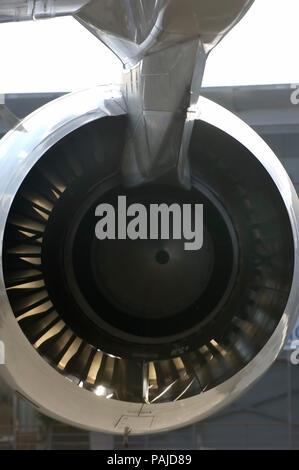 Trent 970 engine jet-exhaust section and pylon at the 2005 Paris AirShow, Salon-du-Bourget - Stock Image