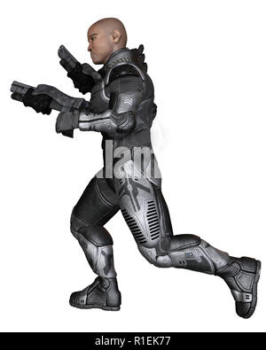 Future Soldier, Black Male, Running - Stock Image