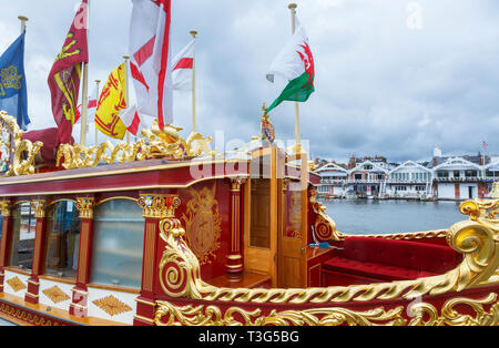 Gloriana, the Queen's rowbarge, used in the Queen's Diamond Jubilee, moored at Henley-on-Thames in the Henley Royal Regatta - Stock Image