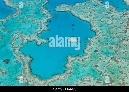 Aerial view of Heart Reef, part of Great Barrier Reef, Queensland, Australia - Stock Image
