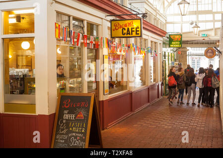 The interior of the Victorian Oxford Covered Market in Oxford town Centre with Brown's Cafe - Stock Image
