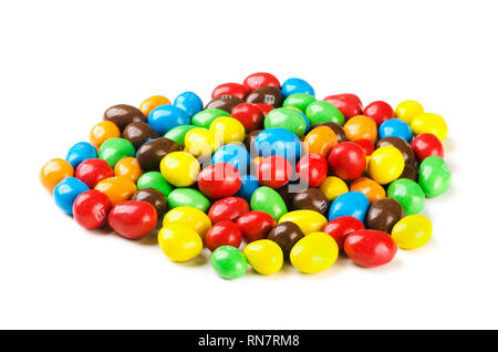 KRASNODAR, Russian Federation - July 7, 2018: M&M's candies. M&M's produced by Mars, Incorporated. Close up of a pile of colorful chocolate coated can - Stock Image