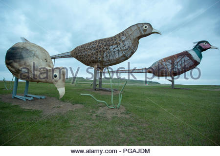 Pheasants on the Highway, Enchanted Highway, North Dakota - Stock Image