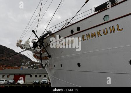 Statsråd Lehmkuhl at it´s quay Skur 7, Bradbenken in Vågen, Bergen, Norway. - Stock Image