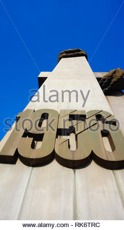 Poznan, Poland - February 6, 2019: 1956 year number on the cross shaped uprising memorial. Monument is located on the Adam Mickiewicz square in the ci - Stock Image