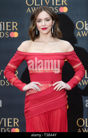 London, UK. 7th Apr 2019. Katharine McPhee poses on the red carpet at the Olivier Awards on Sunday 7 April 2019 at Royal Albert Hall, London. Picture by Credit: Julie Edwards/Alamy Live News - Stock Image