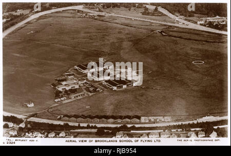 Aerial view, Brooklands School of Flying Ltd, Surrey, with the race track visible on the perimeter. - Stock Image