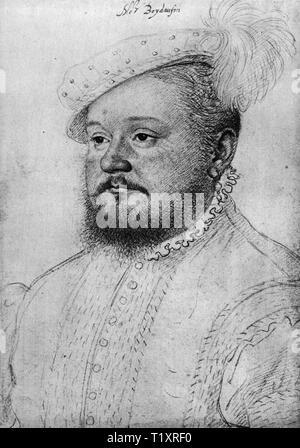 fine arts, Francois Clouet (1510 - 1572), 'Monsieur Boydaufin', Rene de Laval, Seigneur de Bois-Dauphin, portrait, drawing, by Jean Clouet, circa 1555, British Museum, London, Additional-Rights-Clearance-Info-Not-Available - Stock Image