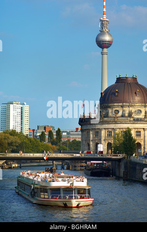 Tourist ferry on the River Spree Berlin Germany - Stock Image