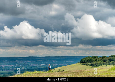 South Downs, UK. 11th June, 2019. Changeable weather conditions on the South Downs near Brighton today Credit: Andrew Hasson/Alamy Live News - Stock Image