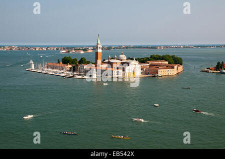 Island of San Giorgio Maggiore with Lido and sea beyond seen from St Marks Bell Tower Venice Italy ISLAND ISOLA - Stock Image