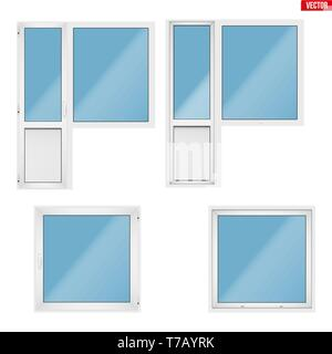 Set of Metal plastic PVC balcony window and door. Indoor and outside view. Presentation of models and frame installation. White color. Sample Vector I - Stock Image