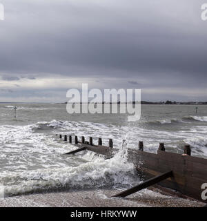Square image of lively sea in West Wittering, Sussex, England - Stock Image