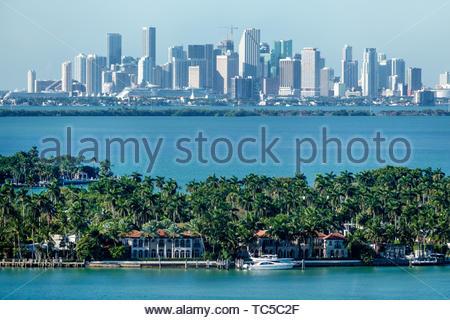 Miami Beach Florida Biscayne Bay downtown Miami city skyline La Gorce Island mansions estates - Stock Image