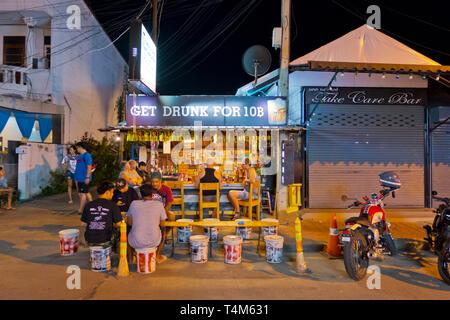 Outdoor bar, Maenamkwai Road, main road, Kanchanaburi, Thailand - Stock Image