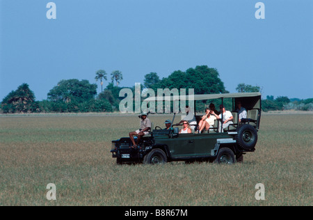 Tourists in a 4x4 game veiwing - Stock Image